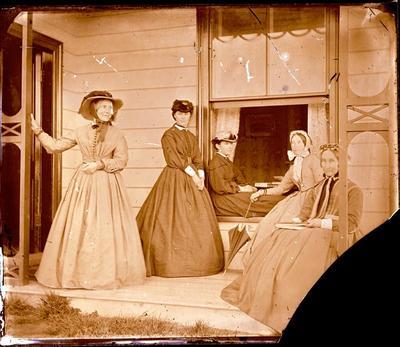 Glass Plate Negative: Five Women