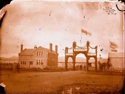 Glass Plate Negative: Arch at Railway