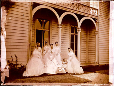 Glass Plate Negative: Alice Hawden with her Bridesmaids