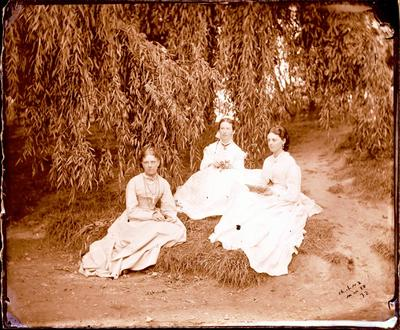 Glass Plate Negative: Three Women