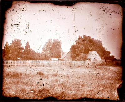 Glass Plate Negative: Cottages, Cathedral Square