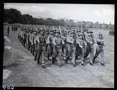 Glass negative: K Force, regimental march past