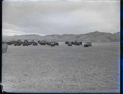 Glass negative: K Force, army tanks and trucks