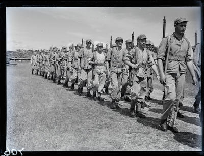 Glass negative: K Force, marching off for training