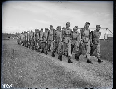 Glass negative: K Force, marching