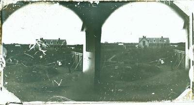 Glass Plate Positive Stereograph Slide: Land Office