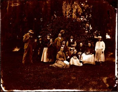 Glass Plate Negative: Group in a Garden