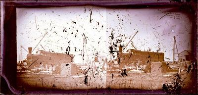 Glass Plate Negative Stereograph Slide: Railway Train at Ferrymead Station