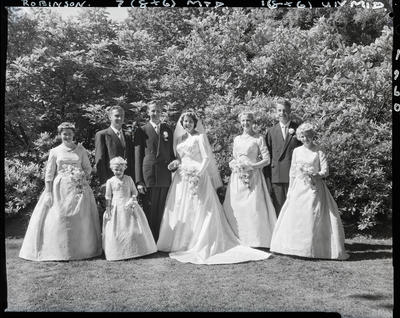 Film negative: Robinson and Wilson wedding, wedding party of eight