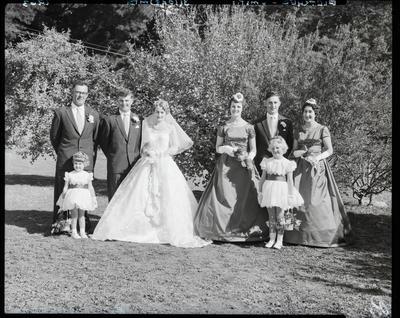 Film negative: Fletcher and Smith wedding, wedding party of eight