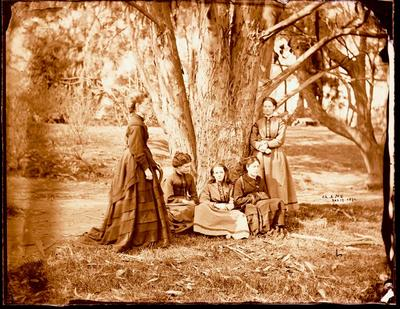 Glass Plate Negative: Five Ladies