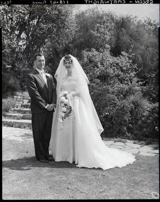 Film negative: Green and Cartwright wedding, bride and groom