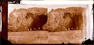 Glass Plate Negative Stereograph Slide: Cave Rock