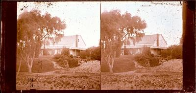 Glass Plate Negative Stereograph Slide: House