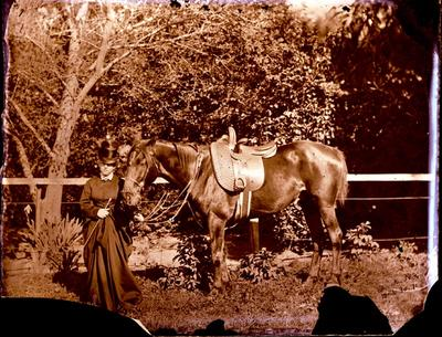 Glass Plate Negative: Elizabeth Barker with her Horse