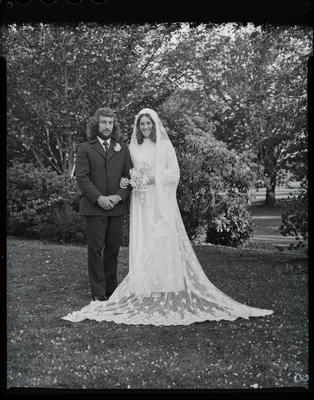 Film negative: Berry and Garlick wedding, bride and groom