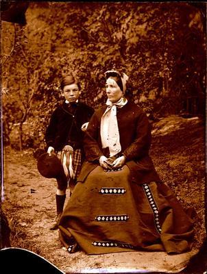 Glass Plate Negative: Woman and Boy