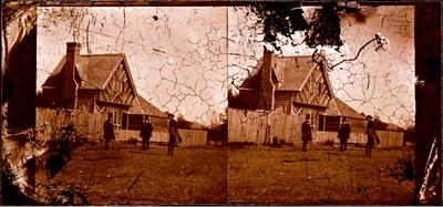 Glass Plate Negative Stereograph Slide: Mr Luck's House