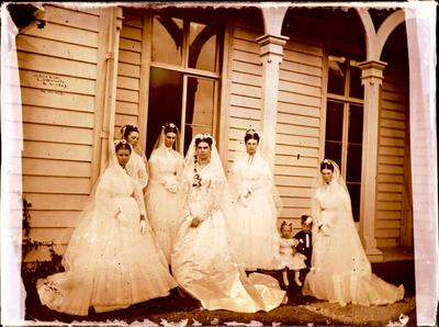 Glass Plate Negative: Alice Hawden and her Bridesmaids; 21 Apr 1869; 1944.78.325