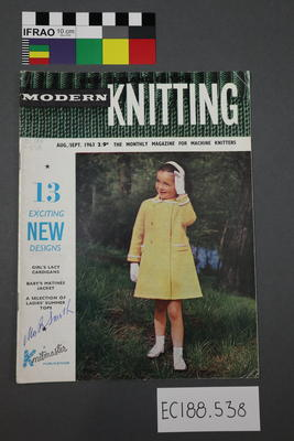 "magazine, knitting pattern:  ""Modern Knitting.  The monthly magazine for machine knitters"",  August/September 1963 (New Zealand edition)"