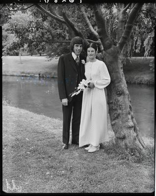 Film negative: Wilson and Davies wedding, bride and groom