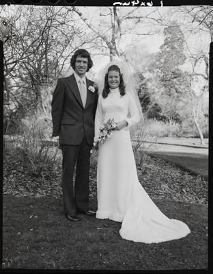 Film negative: Matthewson and Thomas wedding, bride and groom