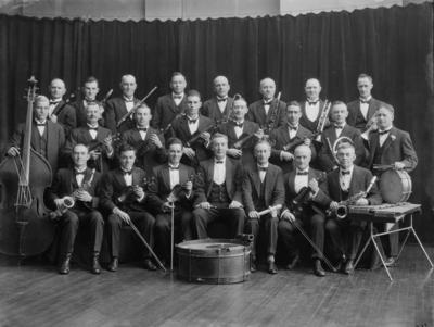 Glass Plate Negative: Christchurch Workingmens Club orchestra