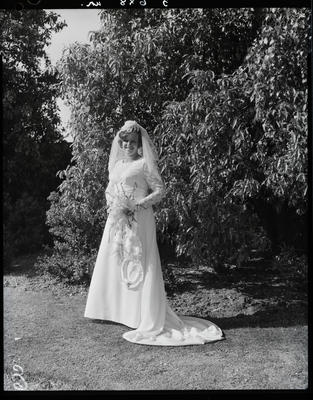 Film negative: McDonald and Brine wedding, bride