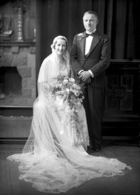 Film Negative: J H Logie groom and bride