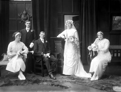 Glass Plate Negative: Mr L Boon with bride and wedding group