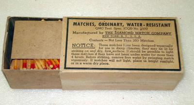 Diamond brand ordinary water resistant matches in cardboard box.