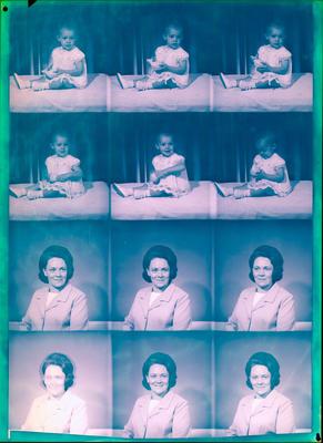 Film negative: Baby; woman