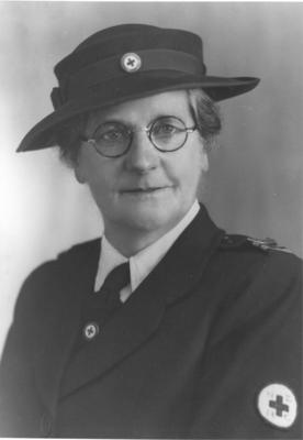 Photograph of Frances Louise Horrell 1946 - 47 wearing her Red Cross uniform
