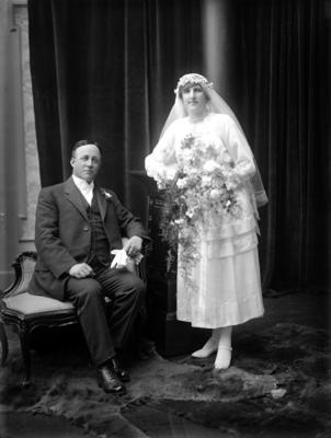 Glass Plate Negative: George William Fisher and bride Beatrice Mary Wright married in Christchurch