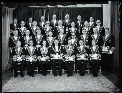 Black and White Film Negative: Provincial grand lodge, group of thirty