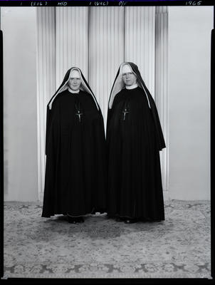 Black and White Film Negative: Sister Bernard and Sister Alponses