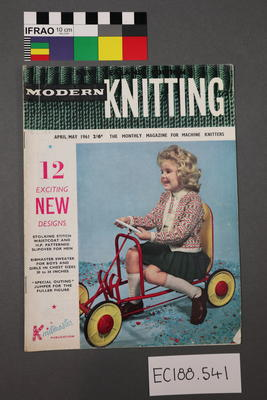 "magazine, knitting pattern:  ""Modern Knitting.  The monthly magazine for machine knitters"",  April/May 1961 (New Zealand edition)"