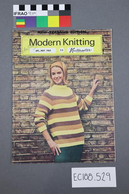 """magazine, knitting pattern: """"Modern Knitting.  The monthly magazine for machine knitters"""",  April/May 1964 (New Zealand edition)"""