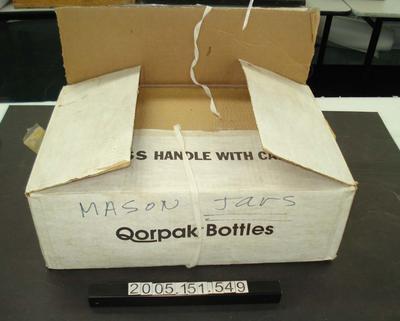 Qorpak bottles also called mason jars in cardboard box