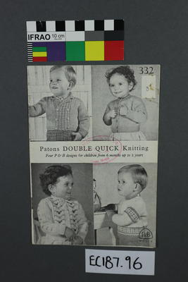 "booklet, knitting pattern: ""Patons Double Quick Knitting""; ;"