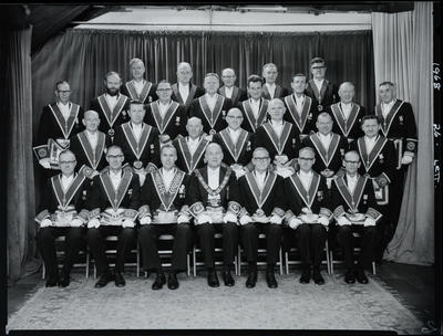 Black and White Film Negative: Group at Provincial lodge.