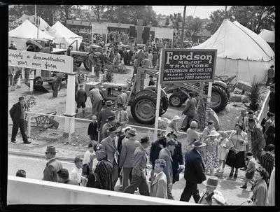 Glass Negative: Hutchinson motors Ltd, Fordson Major tractors at A&P Show.