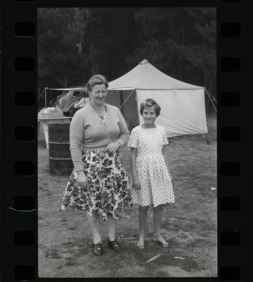 Black and White Film Negative: Unidentified campers: woman and girl