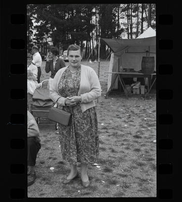 Black and White Film Negative: Unidentified campers: woman