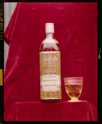 Film Negative: Christchurch Working Mens Club: Langside whiskey bottle