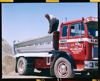 Film Negative: P L Bunz Limited, Woodend - truck and workman