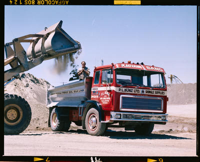 Film Negative: P L Bunz Limited, Woodend - frontend loader, truck and workman