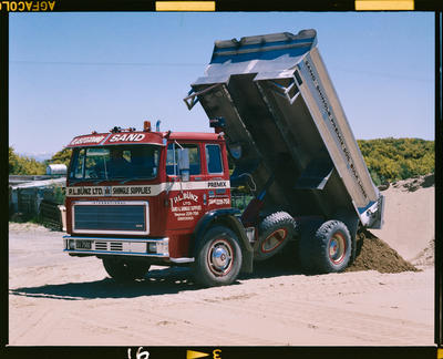 Film Negative: P L Bunz Limited, Woodend - truck tipping gravel