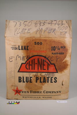 Box of paper plates from emergency cache
