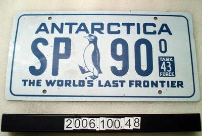 "Customised number plate ""Antarctica SP 90 Task force 43 the world's last great frontier"""